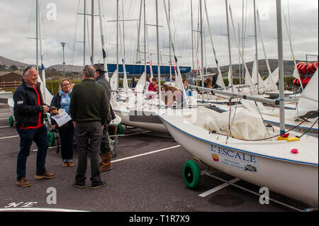 Schull, West Cork, Ireland. 28th Mar, 2019. Competitors and juddges prepare for a day's sailing on the second day of the Munster Schools Team Racing Championships, which is being held at the Fastnet Marine and Outdoor Education Centre in Schull today. The competition comprises of 13 teams of 6 sailors with the winners going on to compete in the National Championships. Credit: Andy Gibson/Alamy Live News - Stock Image
