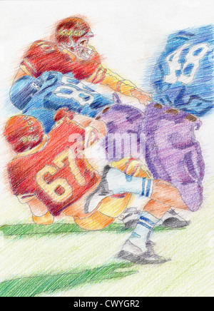 Color pencil drawing of footballers on art paper - Stock Image