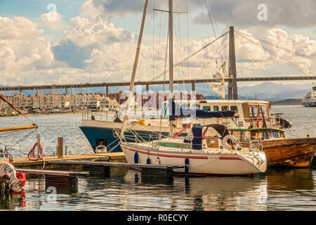 Boats In The Harbour, Stavanger Norway - Stock Image