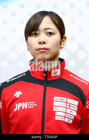 Ajinomoto National Training Center, Tokyo, Japan. 19th Apr, 2019. Komaki Kikuchi (JPN), APRIL 19, 2019 - Fencing : Japan National Team Training Session at Ajinomoto National Training Center, Tokyo, Japan. Credit: Naoki Nishimura/AFLO SPORT/Alamy Live News - Stock Image