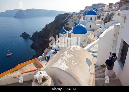 The village of Oia Santorini Cyclades islands, Greece - Stock Image