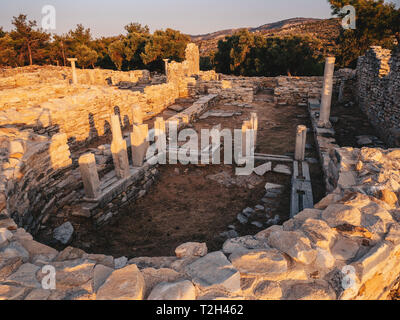 Ruins of an old greek church at Aliki Port (Aliki Marble Port) in Thassos, Greece - Stock Image