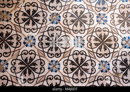 Hand painted tiles, detail, Villa Rufolo, Ravello - Stock Image