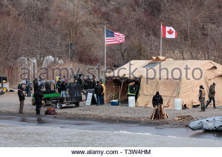 Movie set depicting US refugees crossing border into Canada in Bluffer's Park in Toronto Ontario Canada. - Stock Image