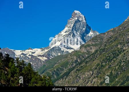 The Matterhorn seen from the Täschalp, Täsch, Taesch, Valais, Switzerland - Stock Image
