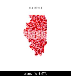 I Love Illinois. Red and Pink Hearts Pattern Vector Map of Illinois Isolated on White Background. - Stock Image