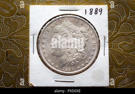 Mint State Silvery Morgan Dollar in its 2 x 2 Cardboard Holder against the brass design of a box top. - Stock Image