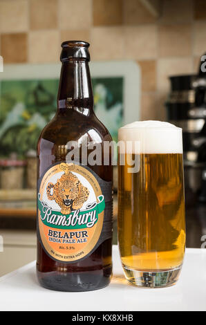Bottle and glass of Ramsbury BELAPUR India Pale ale in UK - Stock Image