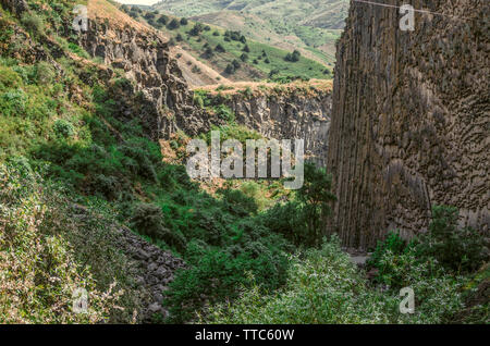 Beautiful summer views of the Garni gorge is covered with green bushes and grass among the hills and basalt cliffs standing vertically - Stock Image