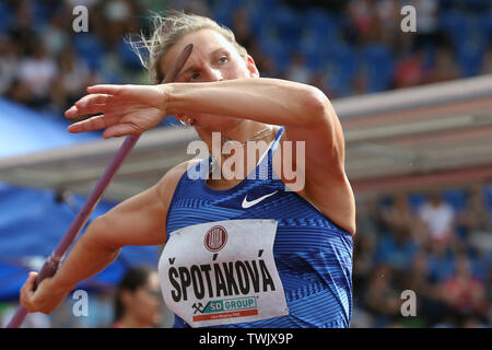 Ostrava, Czech Republic. 20th June, 2019. ***CAPTION CORRECTION: CORRECTED NAME OF THE PHOTOGRAPHER*** Barbora Spotakova (Czech) competes in javelin throw during the Ostrava Golden Spike, an IAAF World Challenge athletic meeting, in Ostrava, Czech Republic, on June 20, 2019. Credit: Petr Sznapka/CTK Photo/Alamy Live News - Stock Image