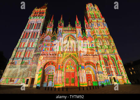 Light show on Cathedral of Notre Dame in the city Rouen. - Stock Image