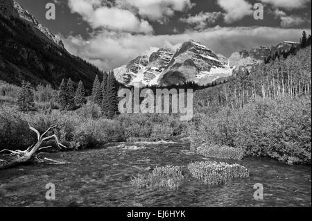 Maroon Bells Aspen Colorado B&W - Stock Image