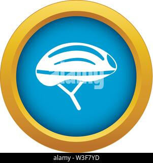 Bicycle helmet icon blue vector isolated - Stock Image