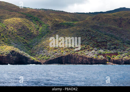 The coastline of Lana'i, view from the water - Stock Image