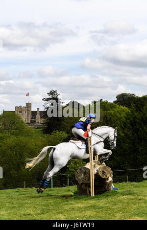 Rockingham Castle, Corby, UK. 21st May, 2017. lizzie Doolittlel and her horse Penstrumbly Jubilee clear a log obstacle - Stock Image