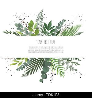 Horisontal botanical vector design banner. Pink rose, eucalyptus, succulents, flowers, greenery. Healing Herbs for cards, wedding invitation, posters, - Stock Image