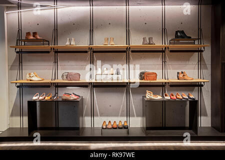 A selection of women's leather shoes for sale at the Frye Company Store on Fifth Avenue in Lower Manhattan, New York City - Stock Image