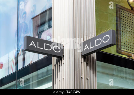 Sign on an Aldo shoe shop in Oxford Street. - Stock Image