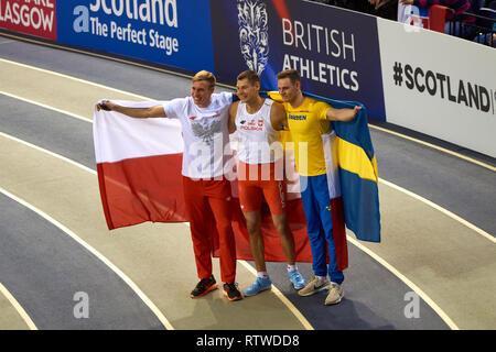 Glasgow, UK: 2st March 2019: Pawel Wojciechowski wins gold and Piotr Lisek silver in Pole Vault on European Athletics Indoor Championships 2019.Credit: Pawel Pietraszewski/ Alamy News - Stock Image