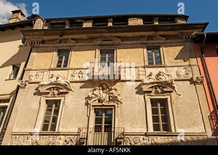 Switzerland Ticino Ascona old city center historical facade - Stock Image
