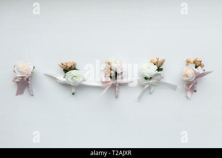 Wedding bouquets in a row - Stock Image