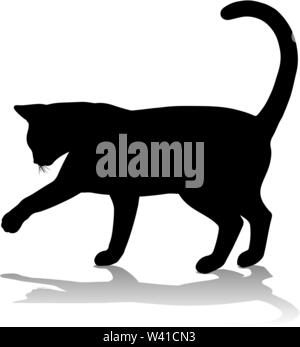 Silhouette Cat Pet Animal - Stock Image