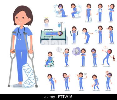 A set of Surgical Doctor women with injury and illness.There are actions that express dependence and death.It's vector art so it's easy to edit. - Stock Image