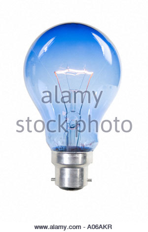 A lit blue light bulb on white background No wires or connections - Stock Image