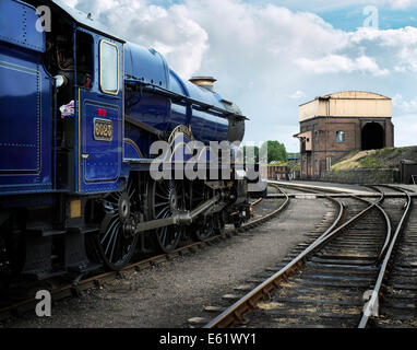 Beautifully restored King Class ex Great Western Railway locomotive 'King Edward II' no 6023 parked at Didcot - Stock Image