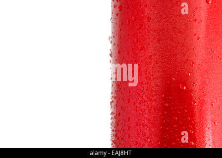 Water droplets on a red shiny metal surface, closeup - Stock Image