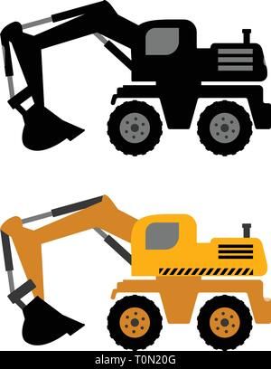 excavator icon - vector - Stock Image