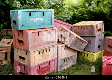 colourful crates - Stock Image