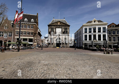 Netherlands; Gouda, 2017, city center, showing its famous chesse weighing house, - Stock Image