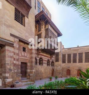 Courtyard of El Razzaz Mamluk era historic house, located at Darb Al-Ahmar district, Old Cairo, Egypt - Stock Image