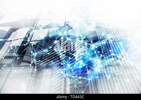 Abstract network background concept with double exposure and network effects - Stock Image