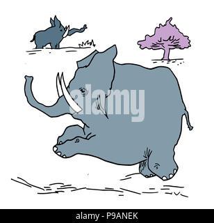 Running tiny elephant.  illustration of wildlife in the Africa. Tiny elephant running in the nature landscape. - Stock Image
