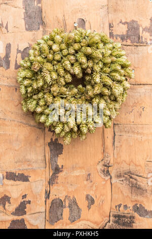 hops wreath - Stock Image