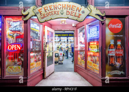 Frenchmen Grocery & Deli, Frenchmen Grocery and Deli storefront at night, Frenchmen Street, New Orleans French Quarter, New Orleans, Louisiana, USA - Stock Image