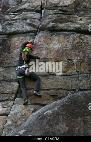 Rock Climber Shawangunk Mountains, The Gunks, New York - Stock Image