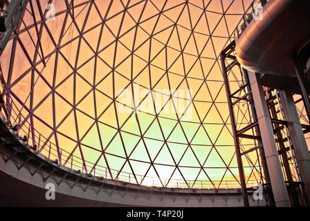 Sunset outside a glass geodesic dome at Victoria Square, Belfast - Stock Image