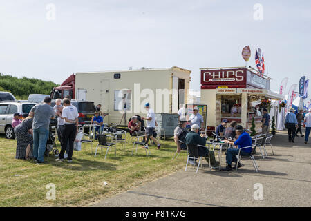 Breakfast bar food stand at Wings and Wheels - Stock Image