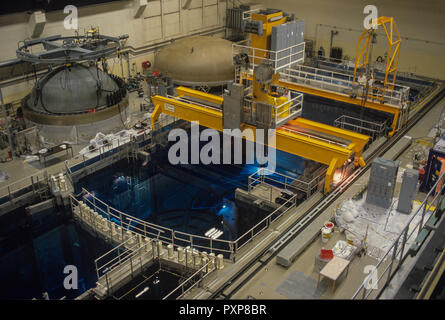 The nuclear reactor at Forsmark with the lid off during re-loading. Forsmark is located on the coast of Uppland about 100 miles north of Stockholm, Sweden - Stock Image