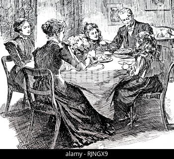 An engraving depicting an afternoon tea. Dated 20th century - Stock Image
