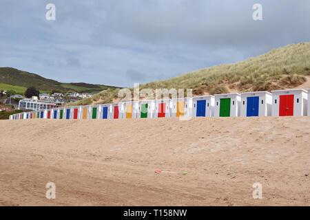 Beach Huts on Woolacombe Beach, Woolacombe Bay, Devon, UK - Stock Image