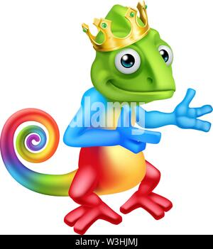 Chameleon King Crown Cartoon Lizard Character - Stock Image