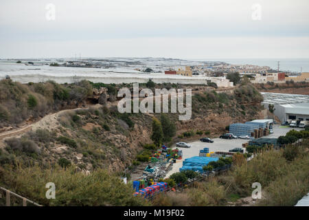 Invernaderos, plastic greenhouses, hothouses for soil free crops in Murcia, Spain. Considered a blight on the landscape - Stock Image