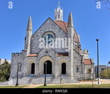 First Baptist Church, a large stone church patterned after Italian design a symbol of christian religion or protestant faith in Montgomery AL, USA. - Stock Image