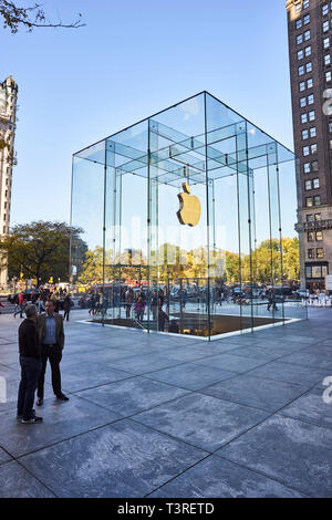 the Cube - Apple Store in fifth avenue and 59th street, by the east side od Central Park in New York City - Stock Image