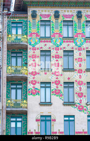 Majolikahaus Vienna, view of the Majolika-Haus in the Naschmarkt area of Vienna - a prime example of the Jugendstil art-nouveau style in architecture. - Stock Image
