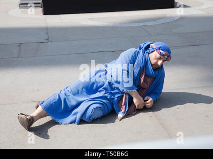 London, UK. 19th Mar, 2019. The Passion of Jesus took place in Trafalgar Square in glorious sunshine. Large crowds enjoyed a free performance with over 100 actors and volunteers from the Wintershall Players which commemorates the day Jesus is believed to have been arrested, tried and crucified. Credit: Keith Larby/Alamy Live News - Stock Image